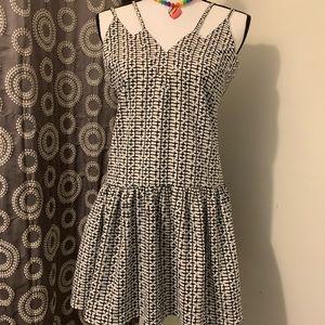 Re:named Black and White Peplum Dress